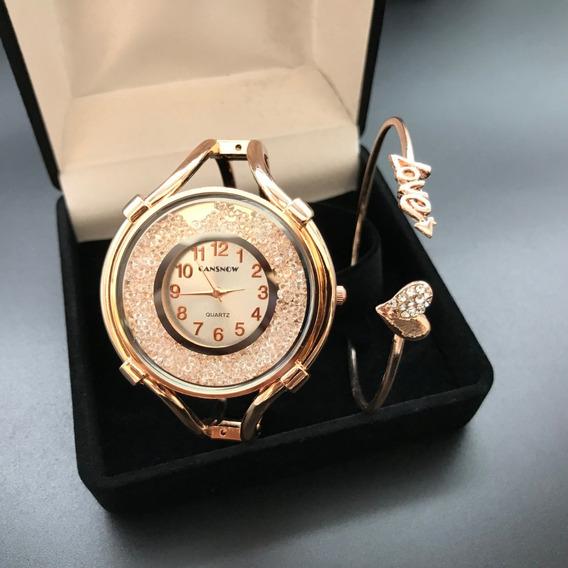 Presente Feminino Kit Relógio C/ Estojo Veludo Promoção