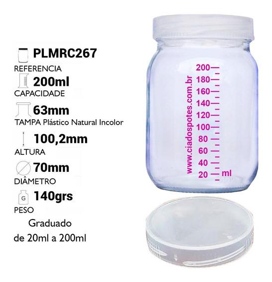10 Potes Vidro P/ Leite Materno C Graduação 200ml + Brinde
