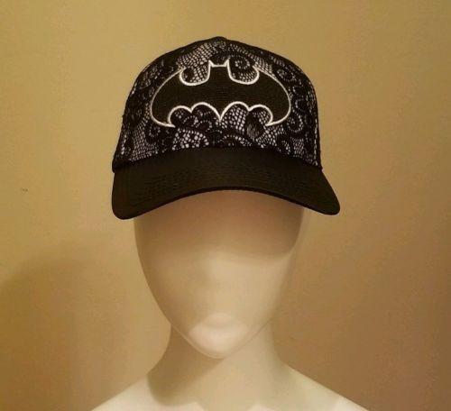 Batman Embroidered Logo Black Lace Hat Dc Comics Adjustable