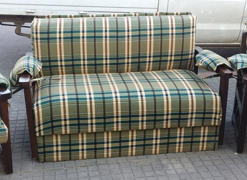 Sofa Cama D 2 Cuerpos (2 Plazas ) Con Brazos De Madera