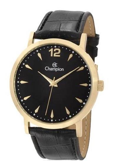 Relógio Feminino Champion Dourado Pulseira Couro Ch22715p