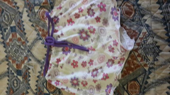 Short De Nena De Algodon Talle 10 Blanco Y Rosa