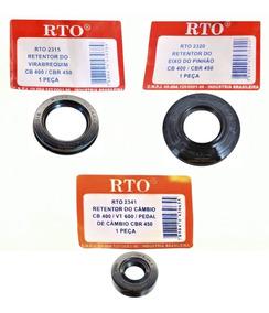 Kit Retentor Virabrequim+pinhão+cambio Honda Cb450 / Cbr450