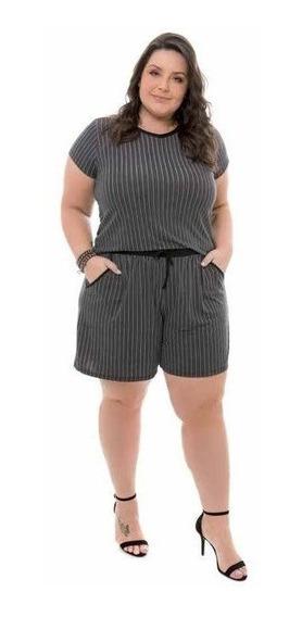 Shorts Preto Estampado Plus Size - Ref.: Ff70609