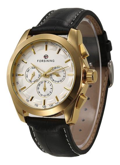 Forsining Moda Masculina Relógios Pulseira De Couro
