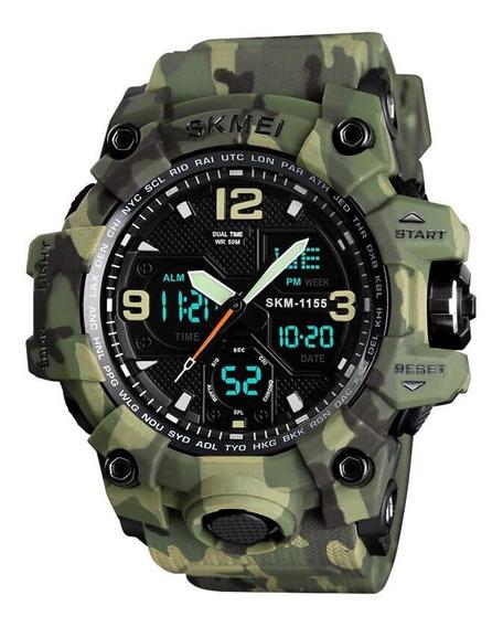 Relógio Masculino Skmei 1155 Verde Camuflado Com Garantia