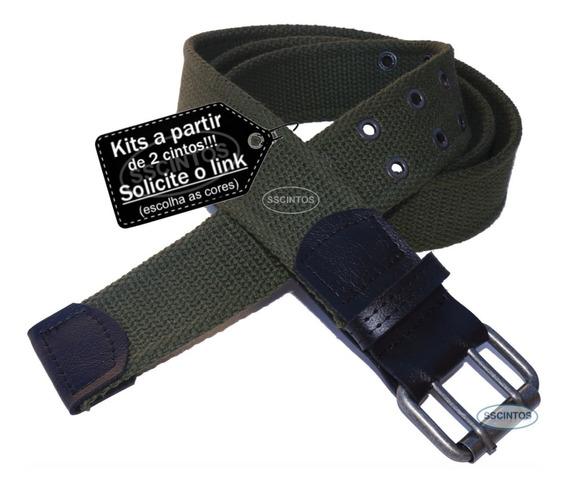 Cinto Masculino Lona Premium 2 Bordas Largura 4cm L39 Vd