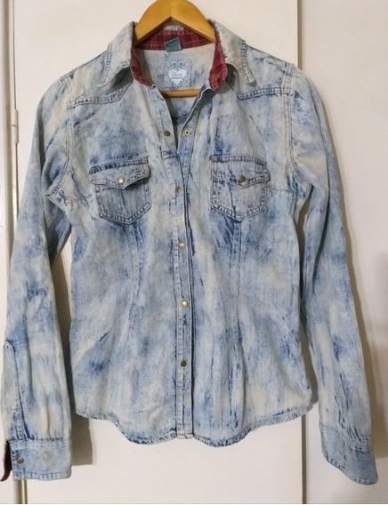 Camisa Jean Nevada Prelavada Mujer Scom M Impecable