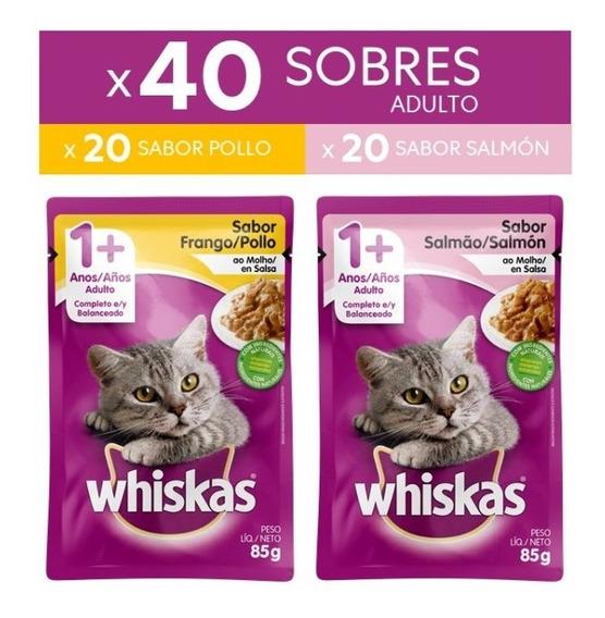 Whiskas Alimento Húmedo Para Gato Adulto Pollo 20 Salmón 20