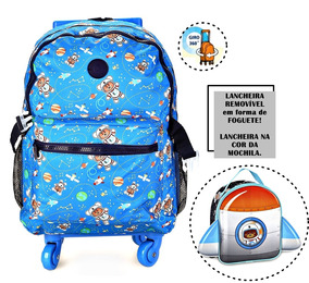 Mochila Urso Astronauta Ck9090k Lancheira Escolar Infantil