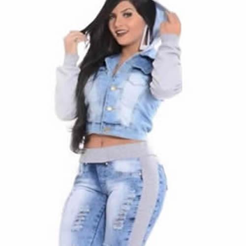 Conjunto Feminino Calça E Jaqueta Jeans Com Moletom 754