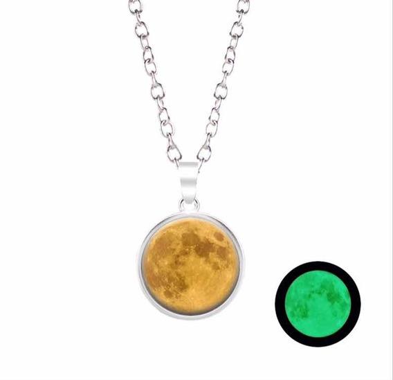 Collar Dije Luna Llena Brilla En Oscuridad Aleacion De Zinc