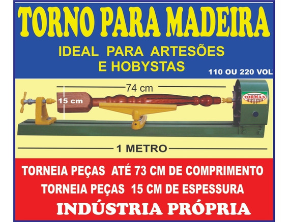 Torno Para Madeira Kw 1 Metro 220 Volt