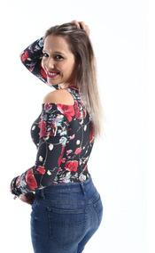 Body Feminino Manga Longa Ombro Vazado Estampa De Rosas