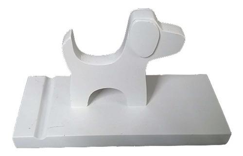 Imagen 1 de 5 de Soporte De Madera Para Teléfonos Y Tablet Figura Perro Blanc