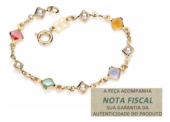 Pulseira Infantil Pedras Coloridad Pérolas Rommanel 550851