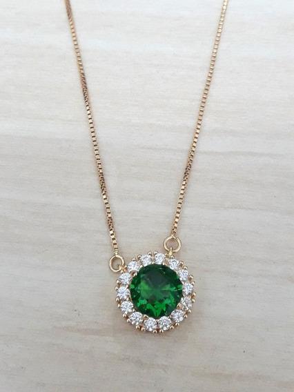 Gargantilha Folheada A Ouro Com Pingente Pedra Verde