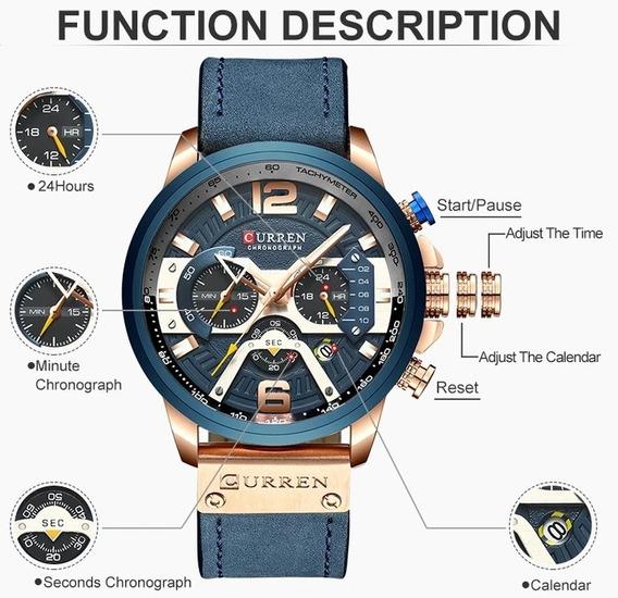 Relógio Masculino Curren Homem De Luxo Lançamento 2019