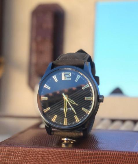 Relógio De Luxo Masculino Couro Quartz