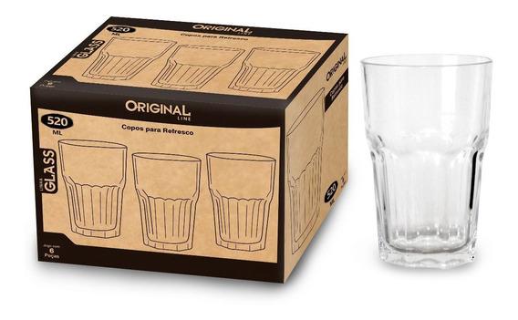 Kit 6 Copos De Vidro Para Suco / Agua / Refrigerante 525ml