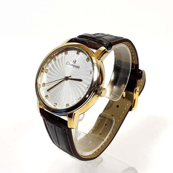 Relógio Feminino Champion Cn24235 Dourado Com Strass