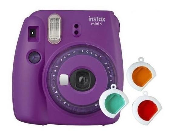 Kit Câmera Fujifilm Instax Mini 9 Roxo + Bolsa + 10 Fotos