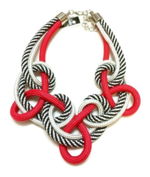 Colar De Corda Loop Vermelho Branco