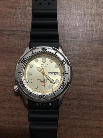 Relógio Citizen Titanium 300m Gold Tone Extremamente Raro