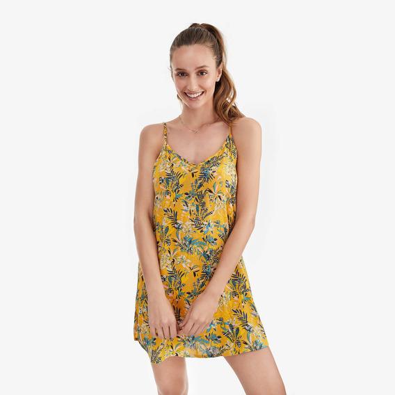 Camisa Dormir Mujer Tropical Amarilla Lounge