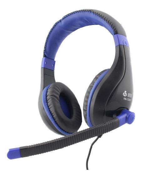 Headphone Estéreo Com Microfone Azul Infokit Hm-720mv