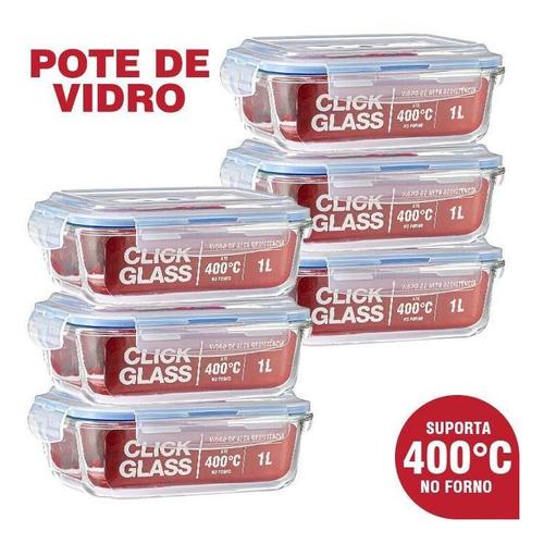 Imagem 1 de 4 de Kit Com 6 Potes De Vidro Herméticos Click Glass (6x1l)