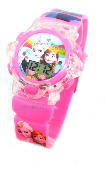 Relógio Frozen Quadrado Infantil Digital Rosa Bebê 3d Oferta