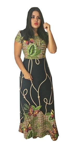 Vestido Longo Rodado Feminino Estampado Florais Barrado