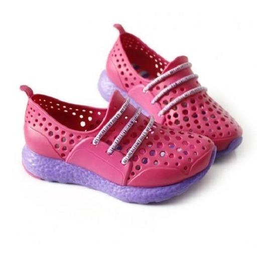Tênis Infantil Fem Casual Plugt - Pink/lilás Frete Grátis