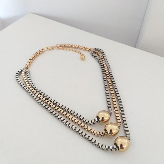 Colar Triplo Dourado E Prata Sigvara