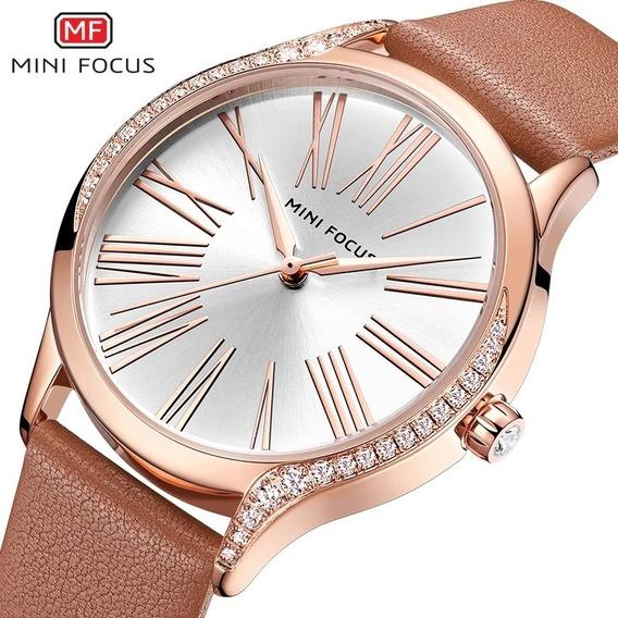 Relógio Feminino Couro Minifocus 0259l Original