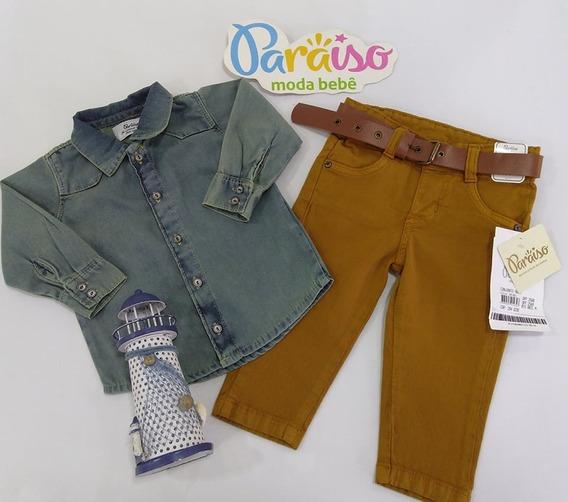 Conjunto Luxo Paraiso Moda Bebe Menino Longo Jeans Cod 8031