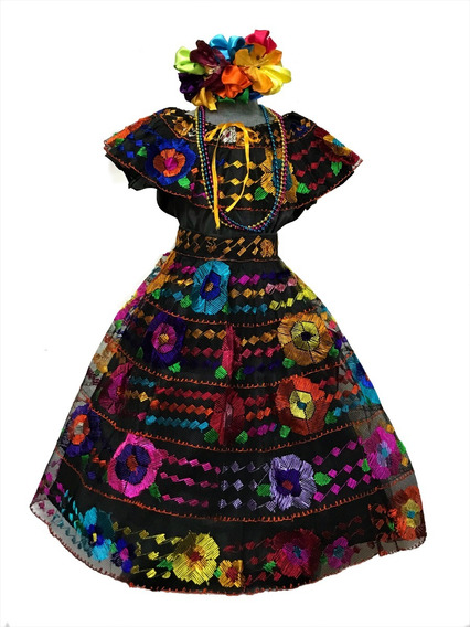 Vestido Regional Chiapas 5 Olanes (5-6 Años) Con Collares
