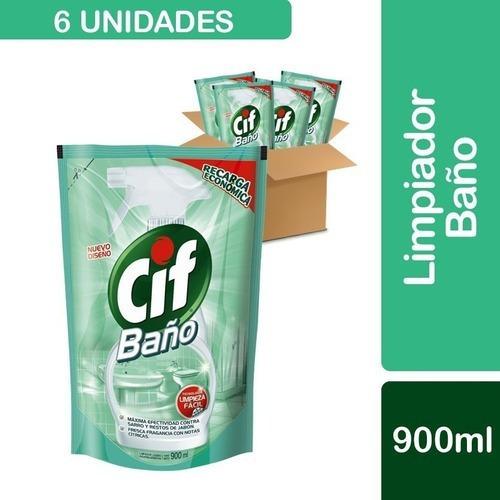 6 Cif Baño, Limpiador Y Desinfectante Recarga 900ml