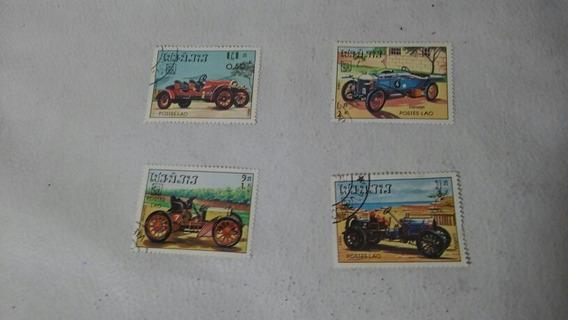 Lote De 4 Estampillas Postes Lao Tematica Autos Antig. 1984
