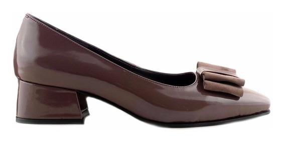 Zapato De Vestir Mujer Gris Cuero Briganti Taco Mccz03441 Cg