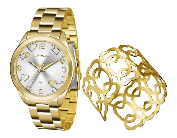 Kit Relogio Lince Feminino Lrg4392l K196 Dourado + Bracelete