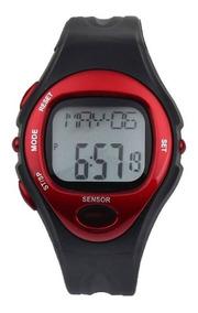 Relógio Sensor Medidor Caloria Frequência Cardíaca Vermelho