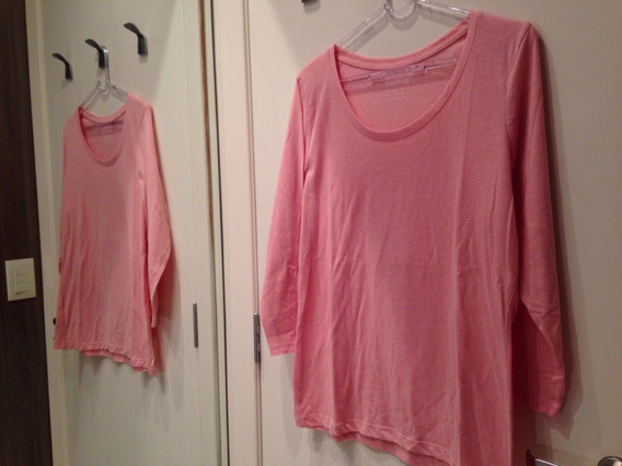 Camiseta Manga Longa Rosa Tamanho G