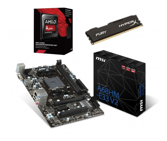 Kit Amd Gamer A6 7480 + A68hm-e33 V2 Msi + 4gb Ddr3 C/nfe