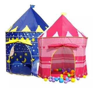 Pack 2 Carpa Castillo Infantil Niños Y Niñas Azul O Rosado