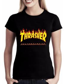 Baby Look Thrasher Skate Board Camiseta Feminina