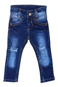 Calça Jeans Escura Bebê Rasgadinho Meninos Tam 1-2-3 Anos