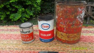 Lote Antiguas Latas De Aceite Esso Y Pintura Pan Namel