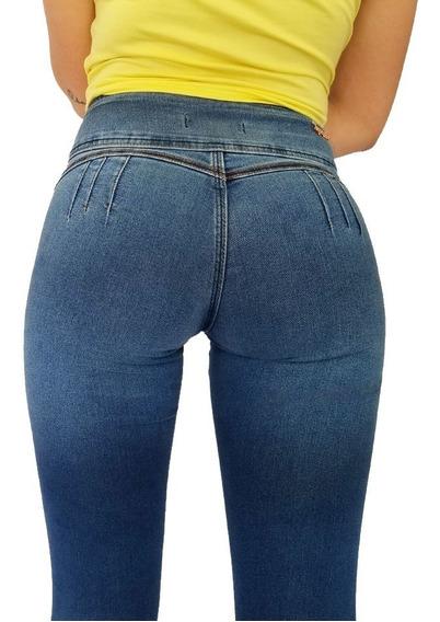 Jeans Mujer Levanta Cola Elastizado Tiro Medio/bajo
